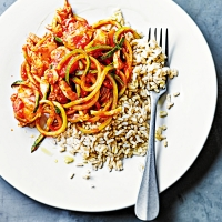 Cod with courgette spaghetti