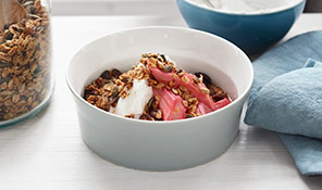 Nutty granola with rhubarb