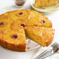 Pineapple upside-down cake with muscovado sugar and lemon syrup