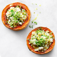 essential Waitrose stuffed butternut squash with feta & cress