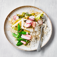 Baked cod with braised miso cabbage & basmati rice