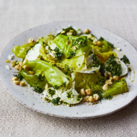 Braised cabbage with goats' cheese, hazelnuts and parsley oil