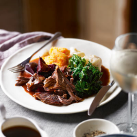 Cider-roasted lamb with beetroot and apple gravy