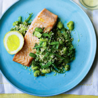 Grilled salmon with broad bean, mange tout and mint couscous