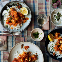 Georgina Hayden's Goan fish curry with rice and raita