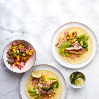 Grilled chicken tacos with radish and mango salsa