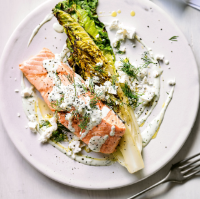Grilled salmon & romaine lettuce  with dill & feta dressing
