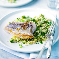 Hake with herby tabbouleh