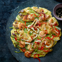 Jordan Bourke's haemul pajeon (seafood and salad onion pancake)