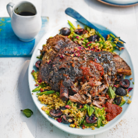 Moroccan-style lamb shoulder with cherries