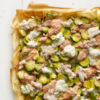 Sprout and crab galette