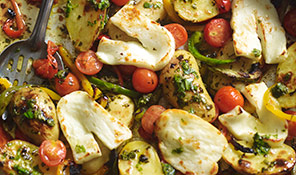 Mediterranean roasted halloumi with basil dressing