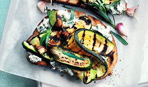 Herby courgette and ricotta bruschetta