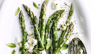 Chargrilled asparagus with mint and crumbled feta