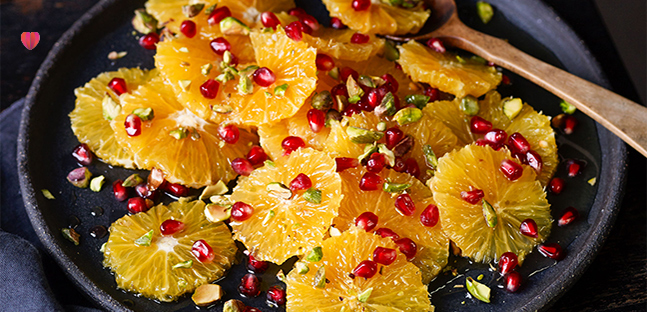 Pomegranate, orange & pistachio salad with orange blossom