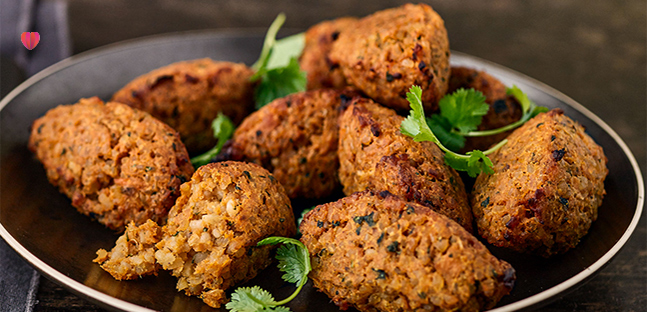 Sweet potato & bulgur koftas with tahini