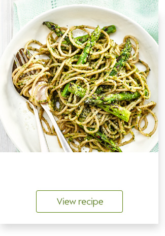Chargrilled asparagus with spaghetti & pesto