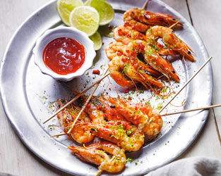 Barbecued lime & chilli tiger prawns