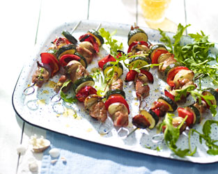 Cider-soaked BBQ pork kebabs