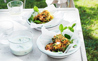 Pea, mint and feta fritters