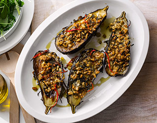 Chilli-roasted aubergines
