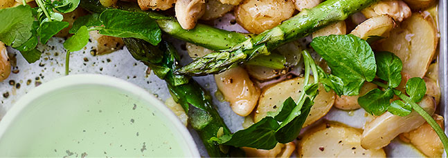 Jersey Royal, butter bean and asparagus traybake