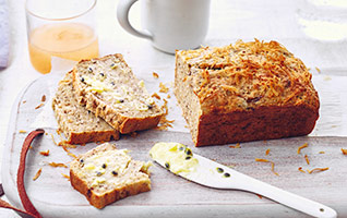 Banana bread with passion fruit butter