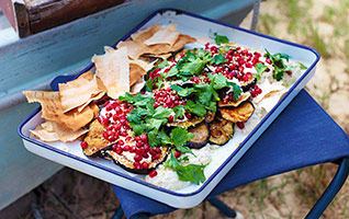 Chargrilled aubergines with pomegranate & feta