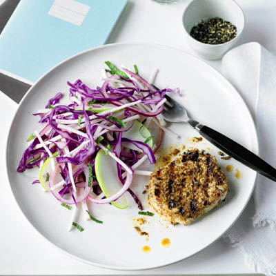 Orange-rub pork medallions with winter slaw