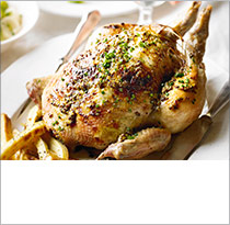 Roast chicken with creamed leeks