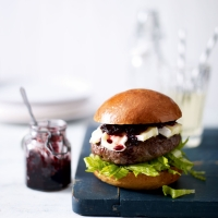 Aberdeen Angus burgers with beetroot relish & Camembert