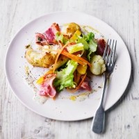 Crushed potato & bacon salad