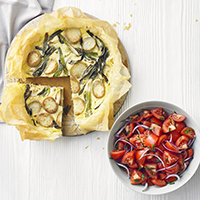 Jersey Royal and salad onion filo tart