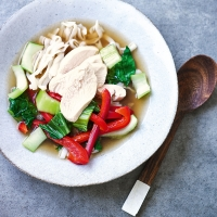 Poached chicken, pak choi & noodles