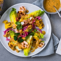Prawn, corn and little gem salad with chilli-peanut dressing