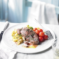 Redcurrant lamb with minted potatoes