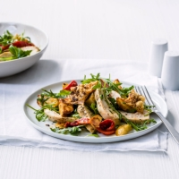 Warm chicken, new potato and red pepper salad