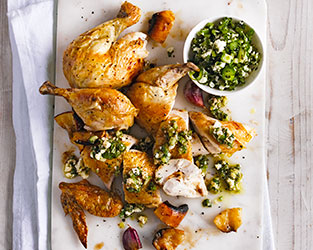 Roast chicken with charred lemons and parsley relish