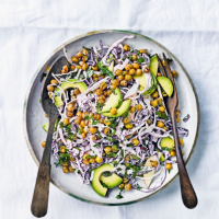 Apple & cabbage slaw with cumin-roasted chickpeas & avocado