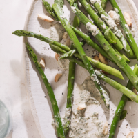 Asparagus with almond and mint sauce