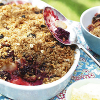 Blackberry pear crumble with cherry muesli topping
