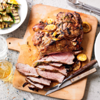 Butterflied lamb with charred courgettes