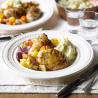 Cajun chicken & winter vegetables with mash