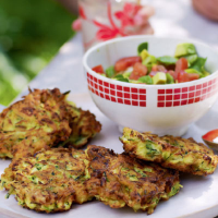 Courgette fritters with avocado salsa