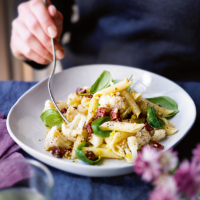 Cauliflower penne with chorizo, lemon & hazelnuts