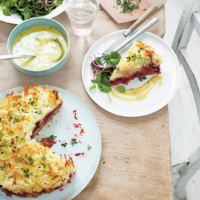 Crispy potato and beetroot cake with sweet mustard sauce