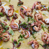 Gizzi Erskine's dirty prawns, spring onions & bacon