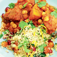 Herby couscous with pomegranate