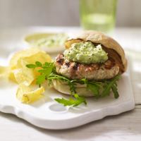 Home-made chicken burgers with avocado mayo