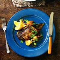 Indian-spiced mackerel with cumin potatoes